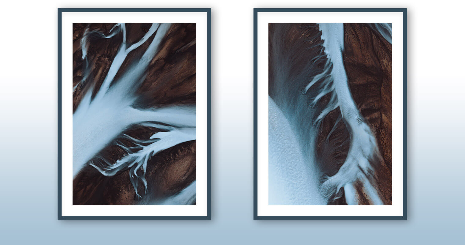 Fine Art Prints of Aerial Rivers in Iceland