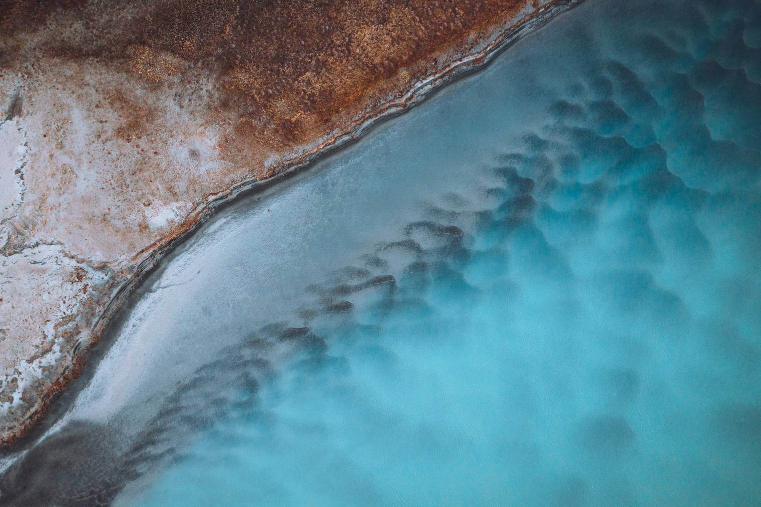 Drone Photo of River in Moody Blue Tones