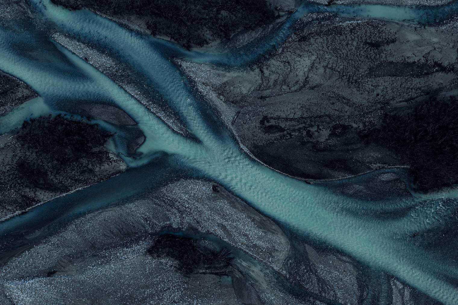 Drone Image of Dark and Abstract River