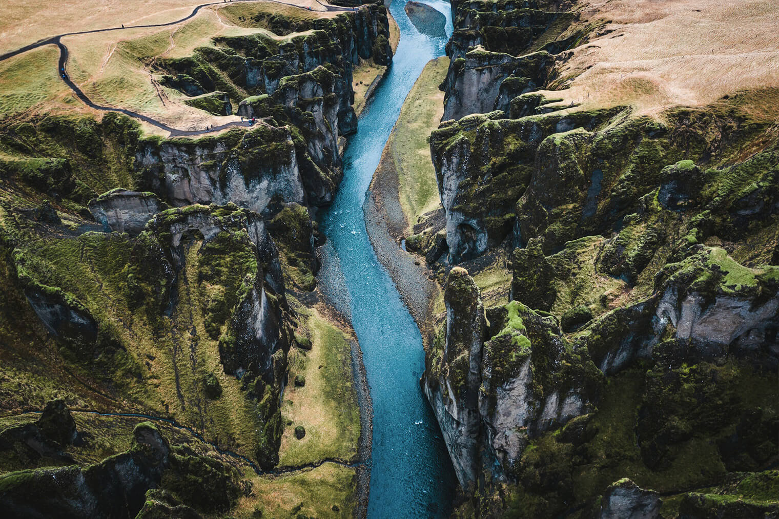 Aerial Photo of Canyon Landscape in Iceland