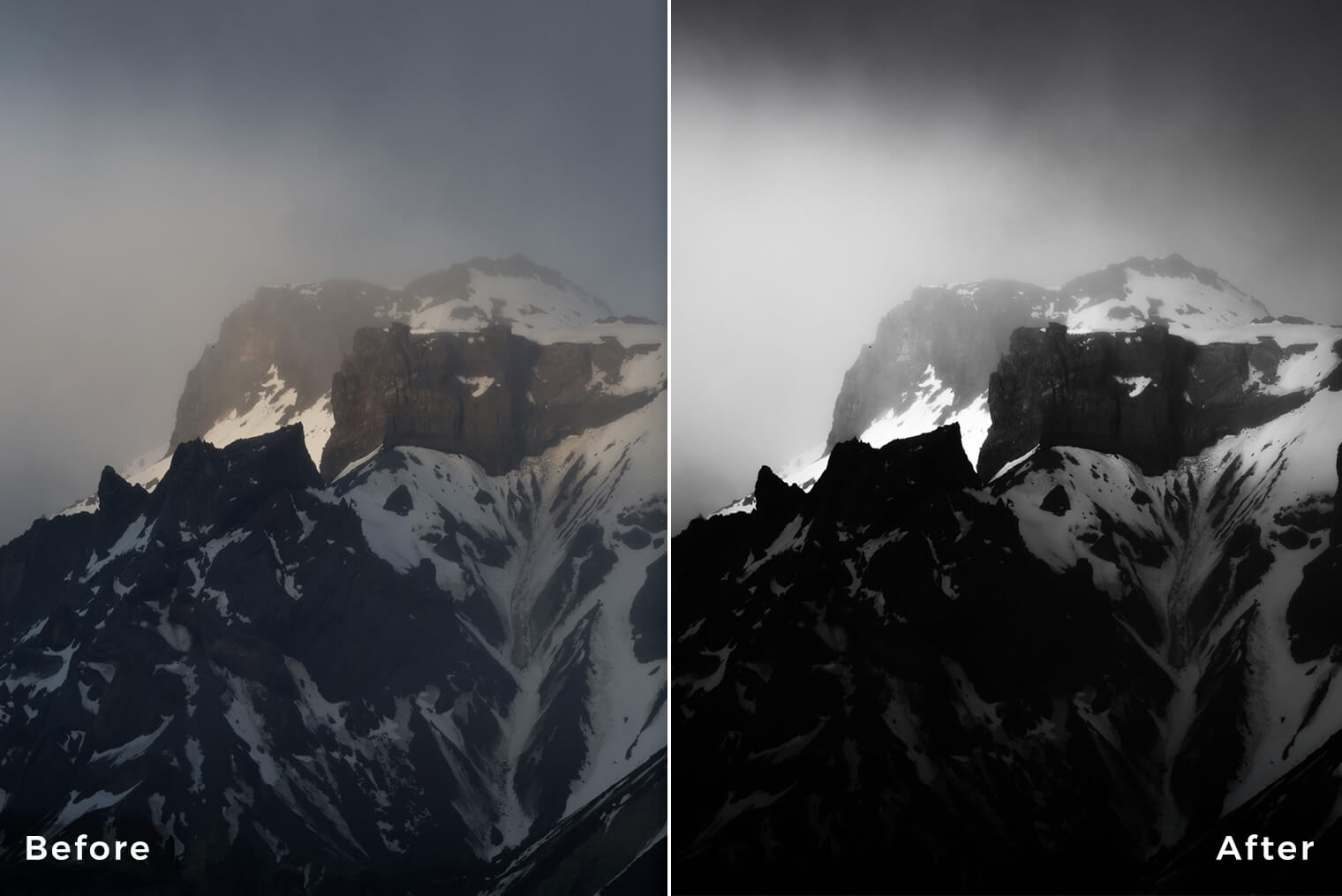 Lightroom Presets for Black & White Mountain Photography