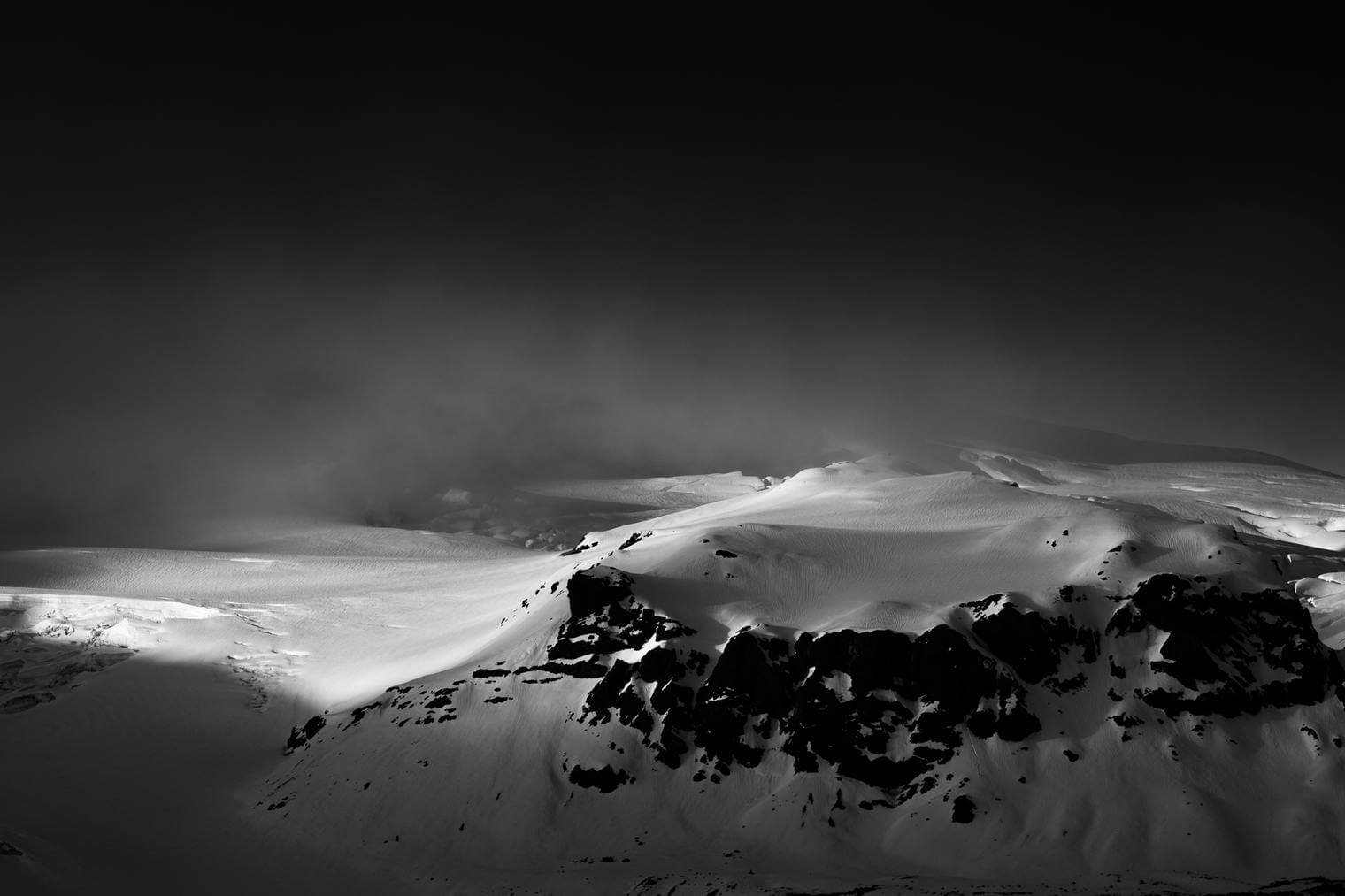 Mountain with Glacier in Dramatic Black and White
