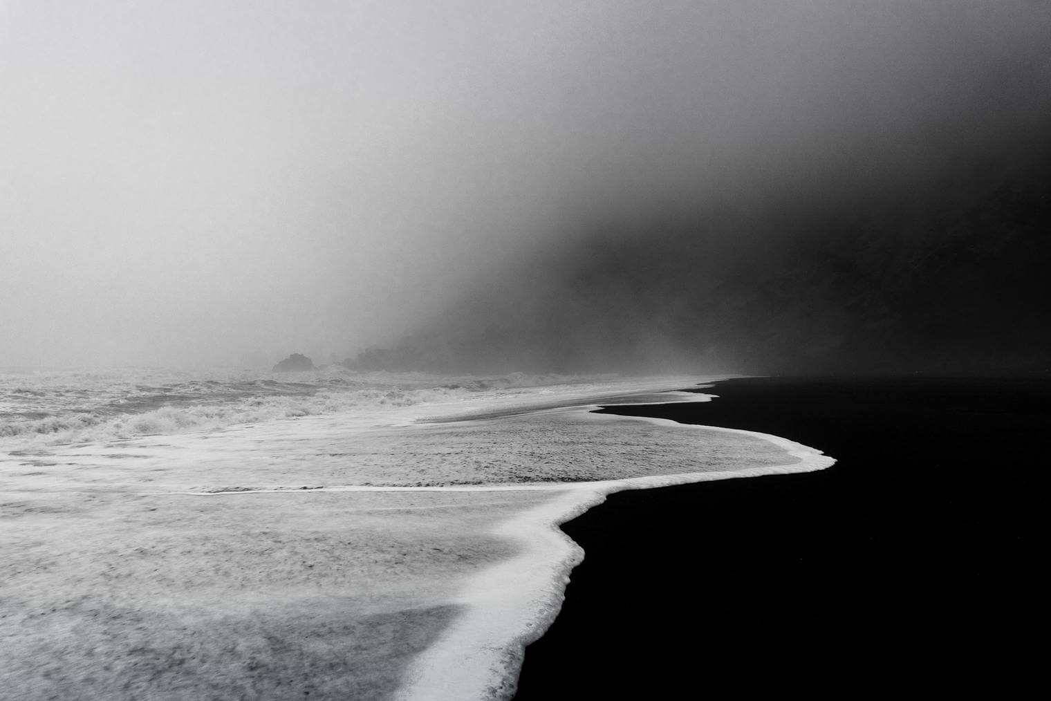 Black Sand Beach of Vik in Monochrome