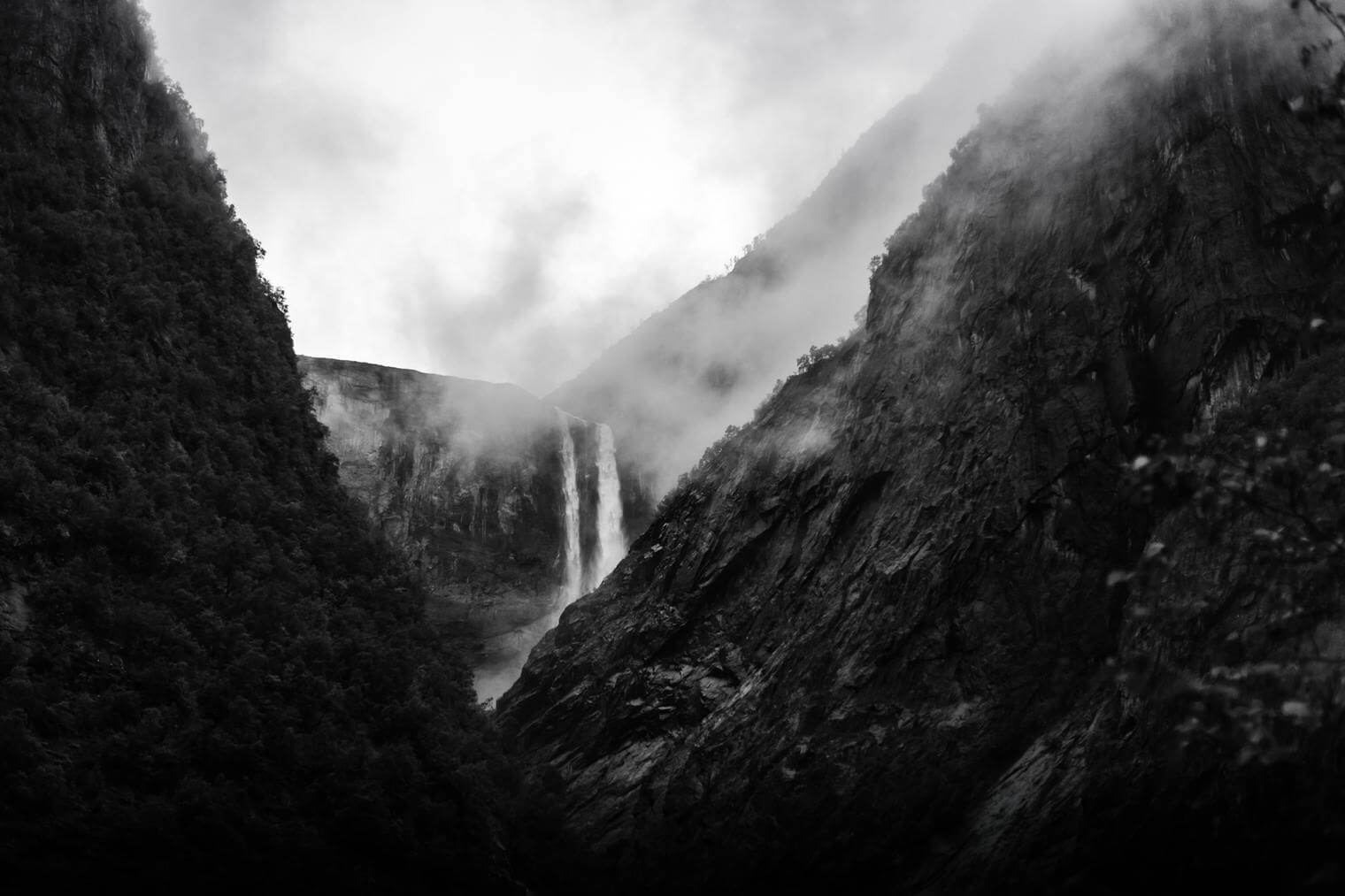 Landscape with Waterfall in Dramatic Black and White