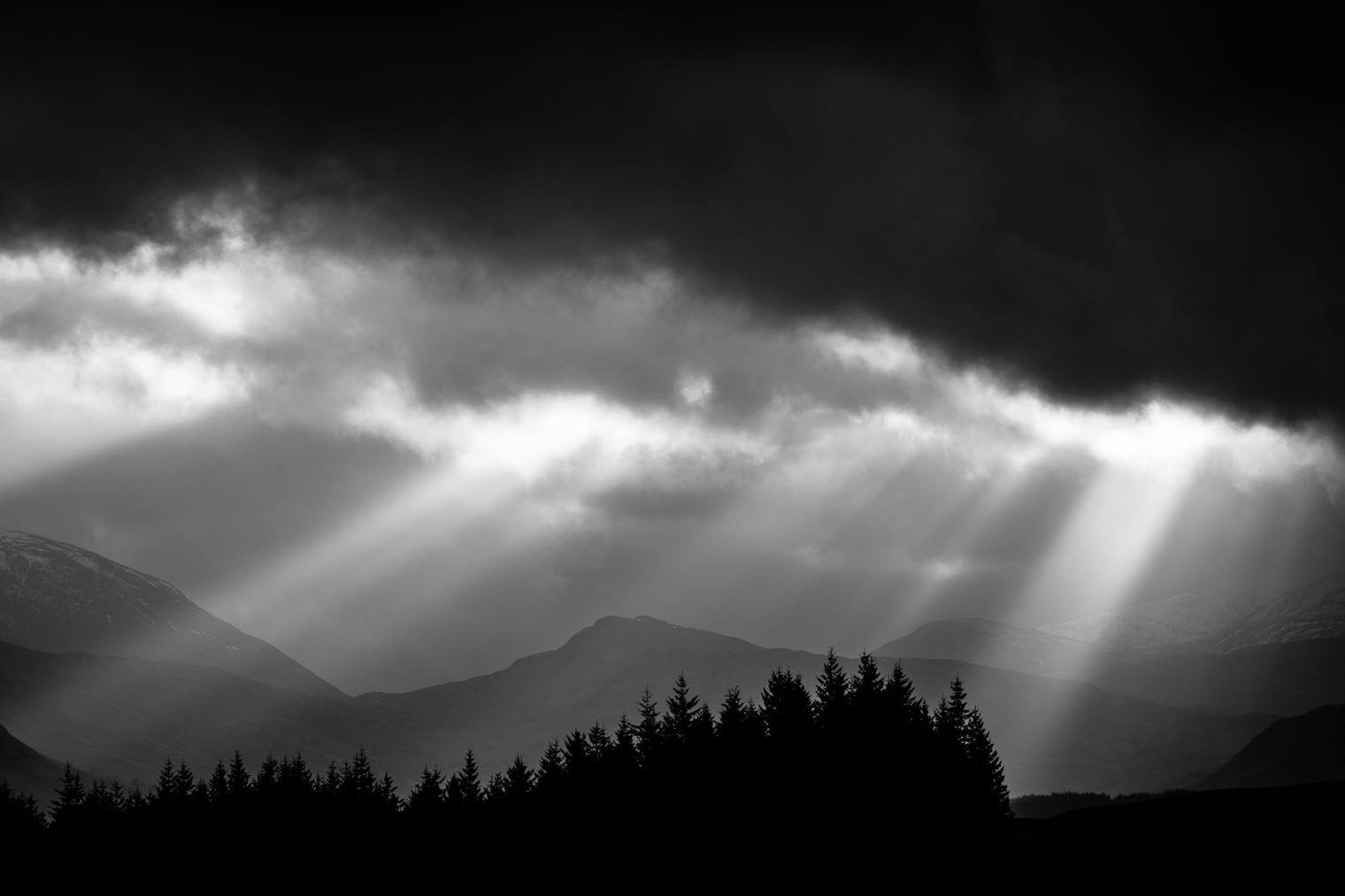 Dramatic Sunset over Scotland in Black and White