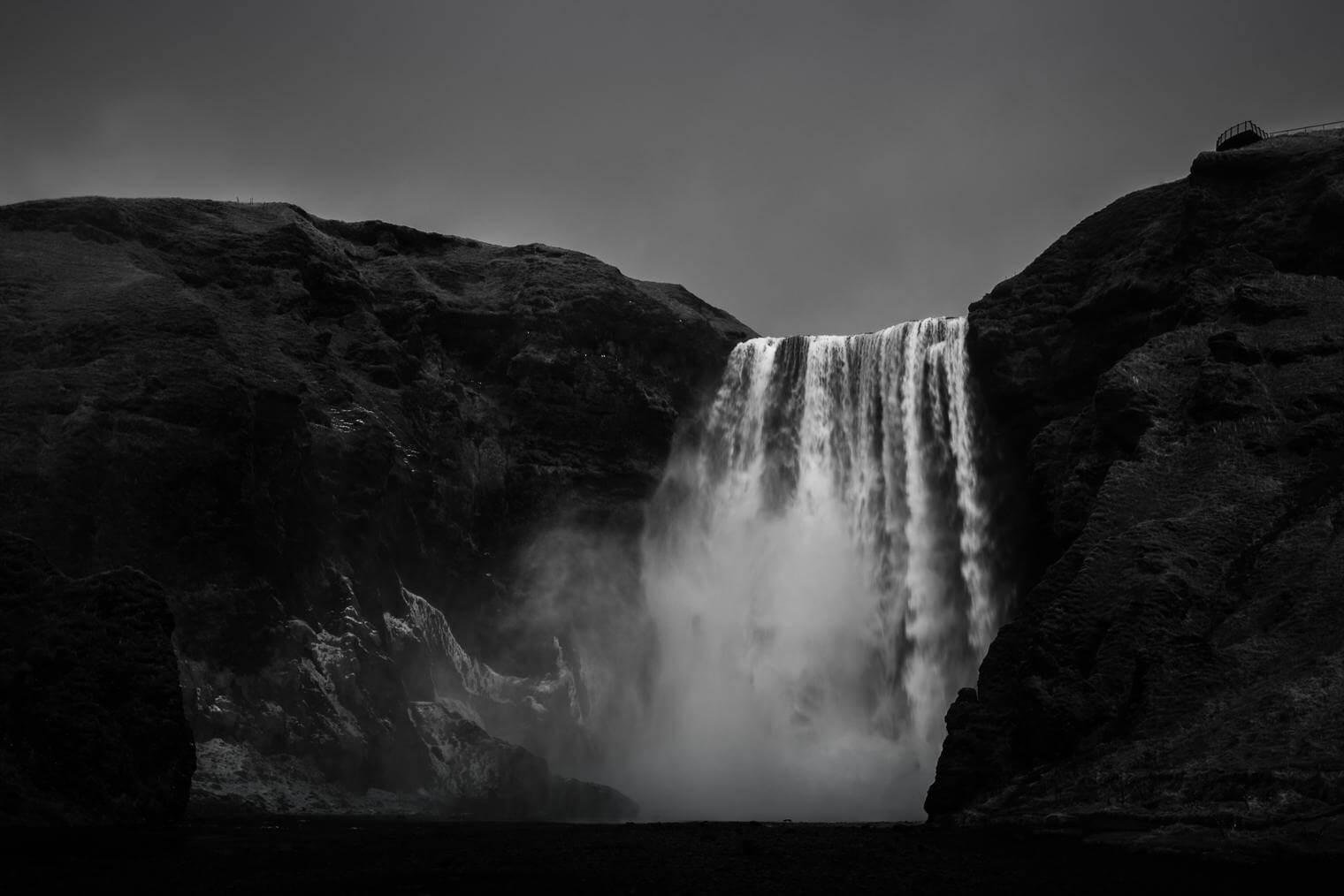 Skogafoss Waterfall in Black and White