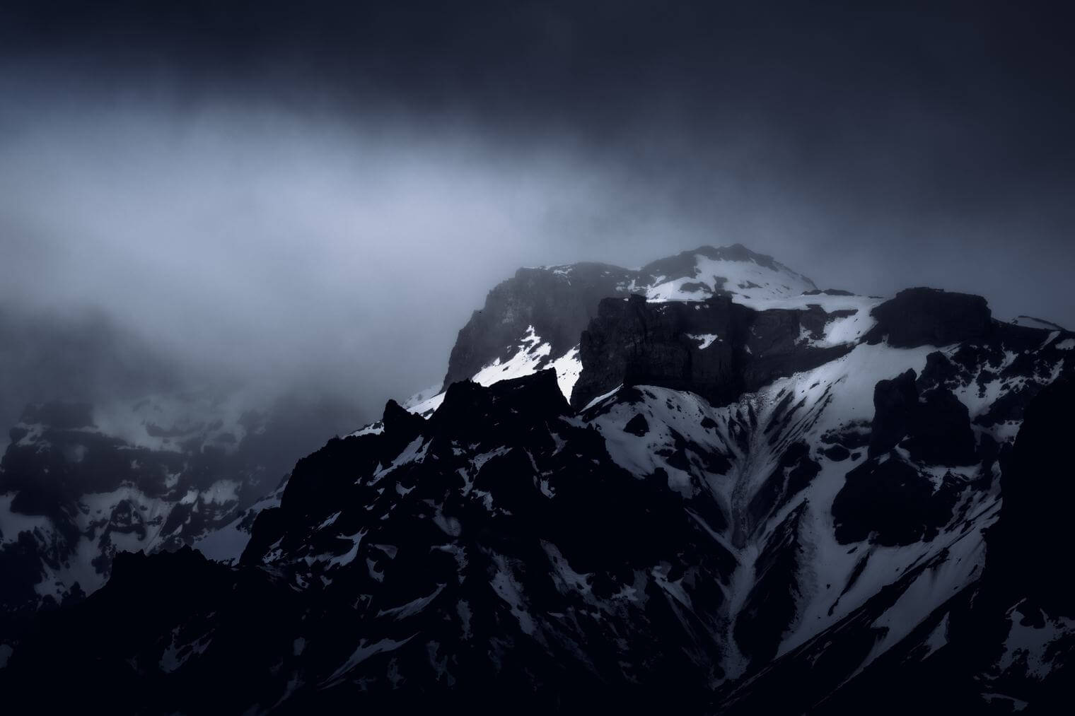 Moody and dramatic mountain landscape in Iceland