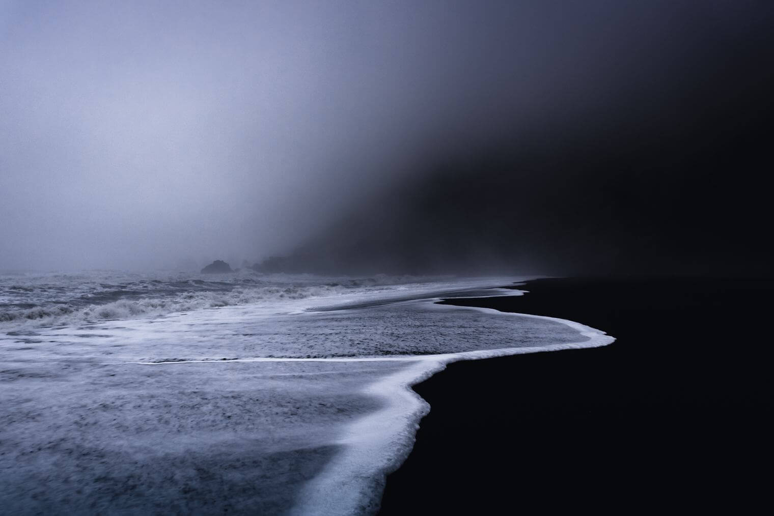 Dark and Moody Waves and Beach