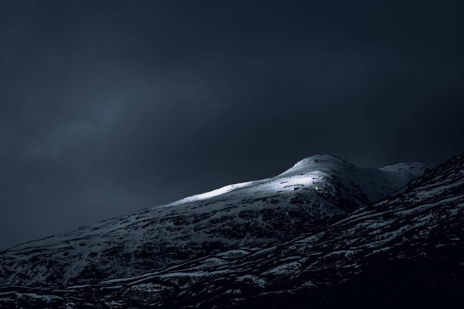 Mountain with Snow in Dark Tones