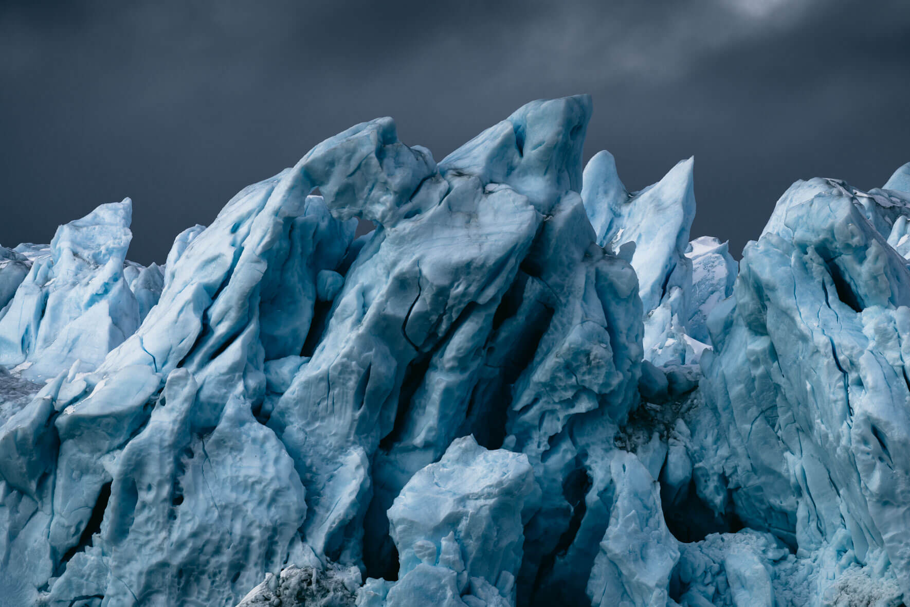 Abstract icebergs in the Ilulissat Icefjord in Greenland
