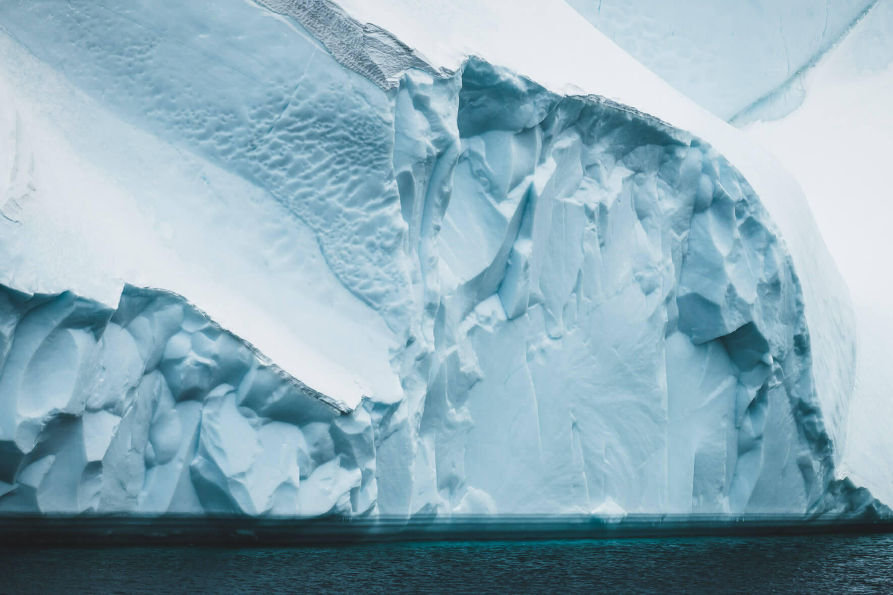 Wall of ice in the Ilulissat Icefjord on the west coast of Greenland