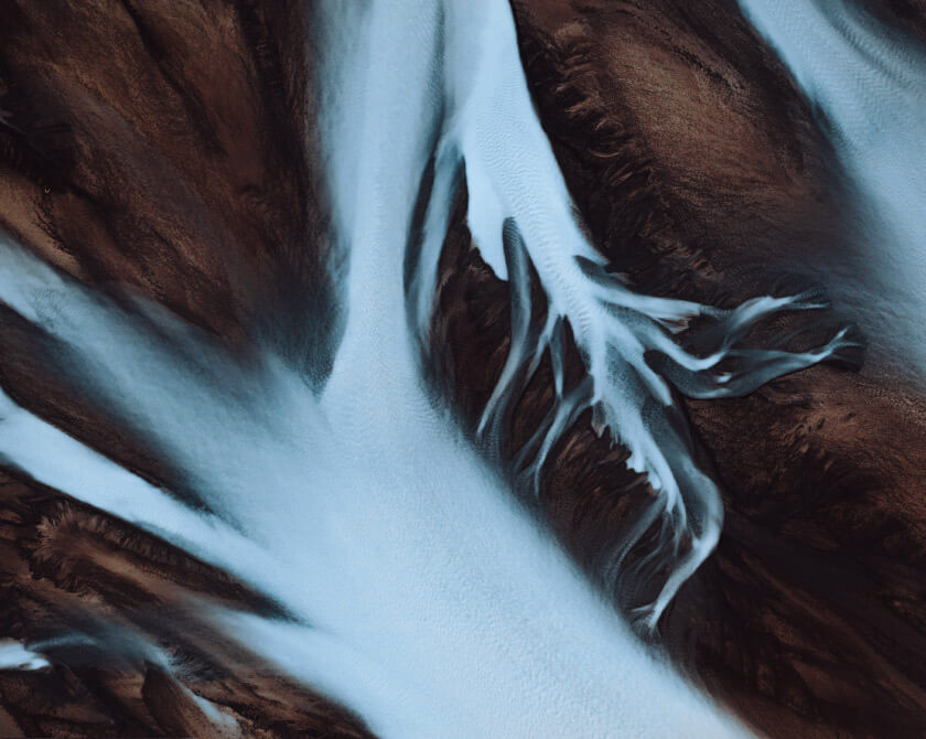 Aerial Photography of Abstract Glacial Rivers in Iceland by Jan Erik Waider