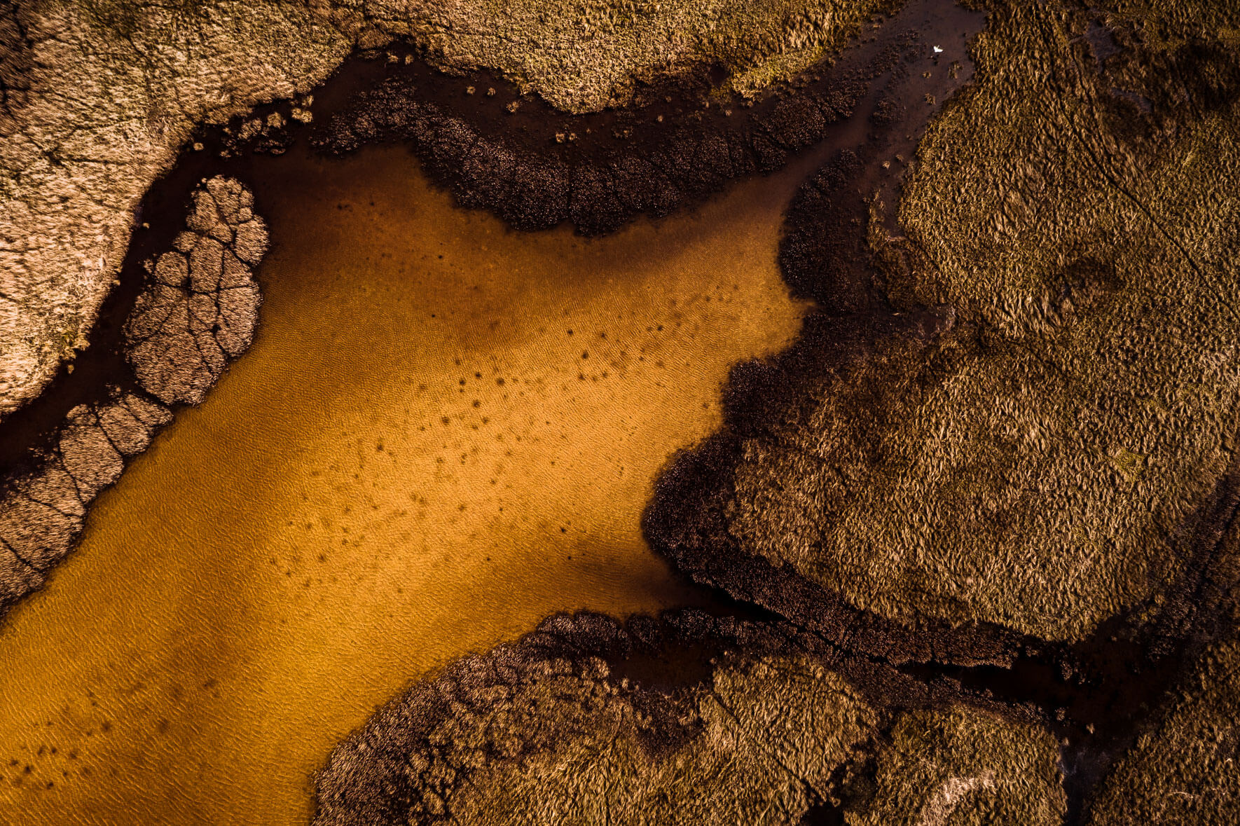 Abstract yellow lake from aerial perspective