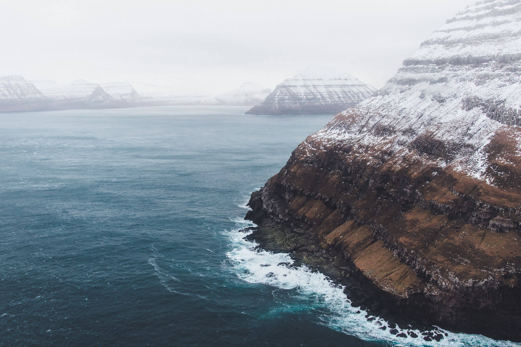 The coast of the Faroe Islands seen from a helicopter in Winter