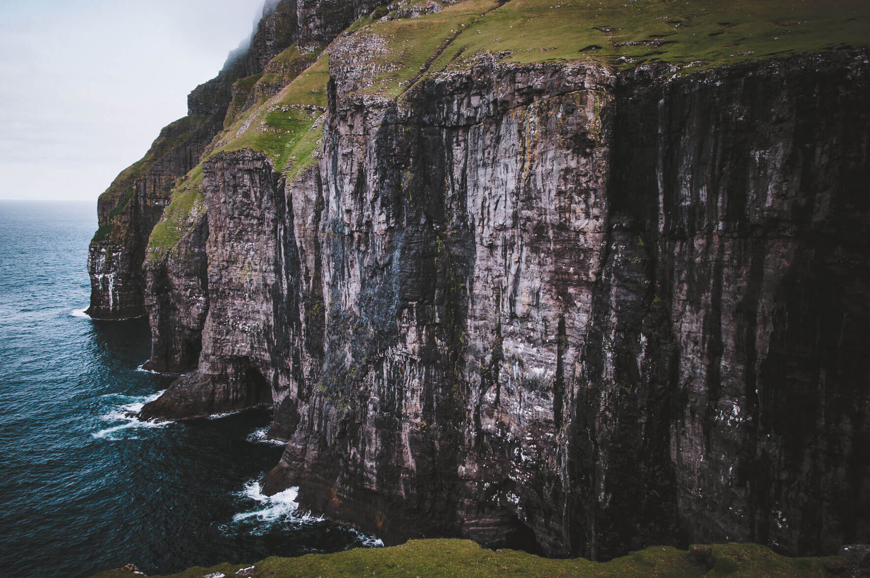 Coastline and cliffs of Suðuroy on the Faroe Islands