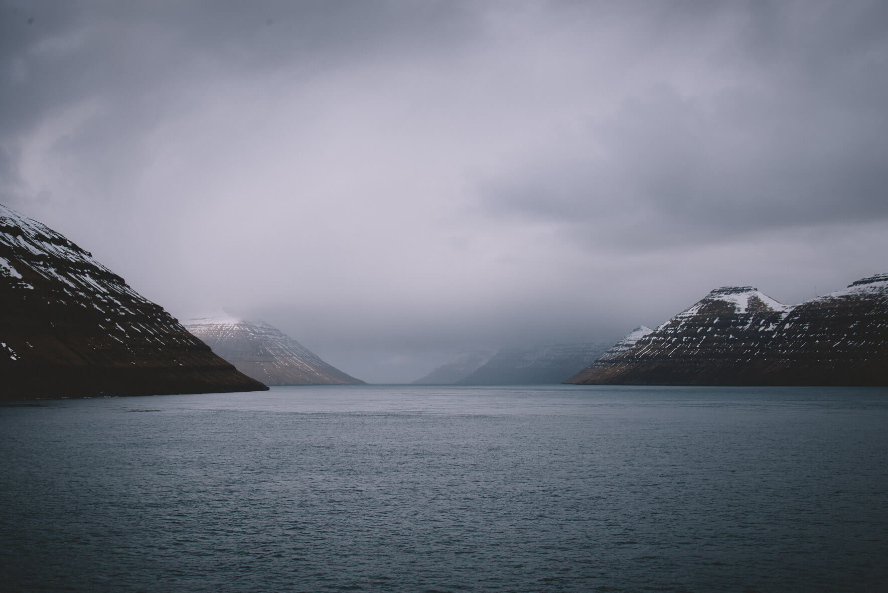 The mountains of the Faroe Islands in Winter