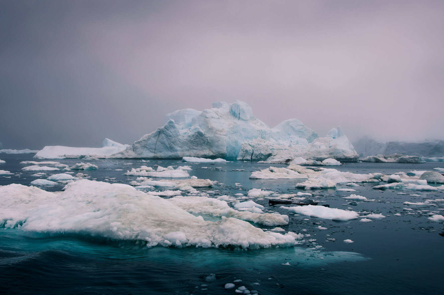 Icebergs in the Disko Bay of Greenland