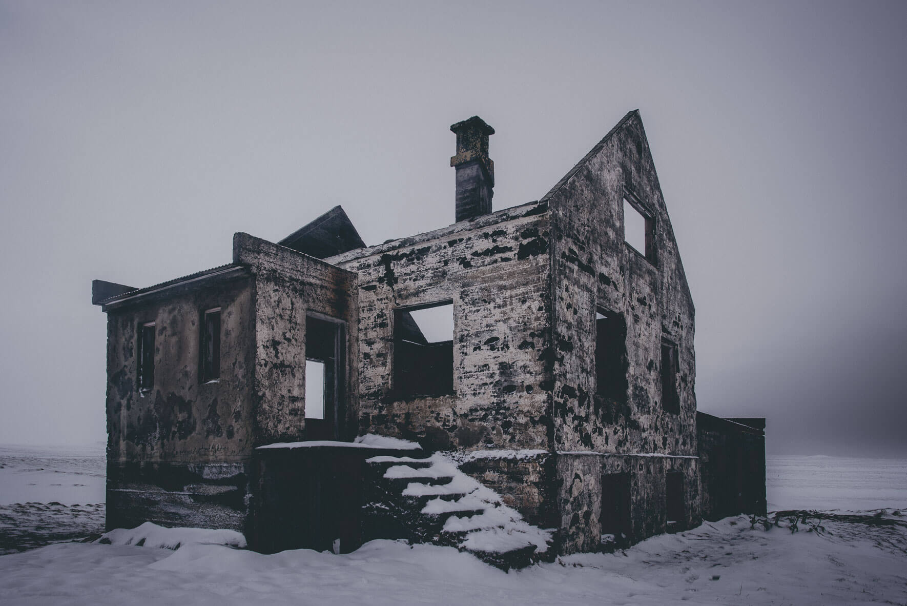 Abandoned house in winter on the Snæfellsnes peninsula, Iceland