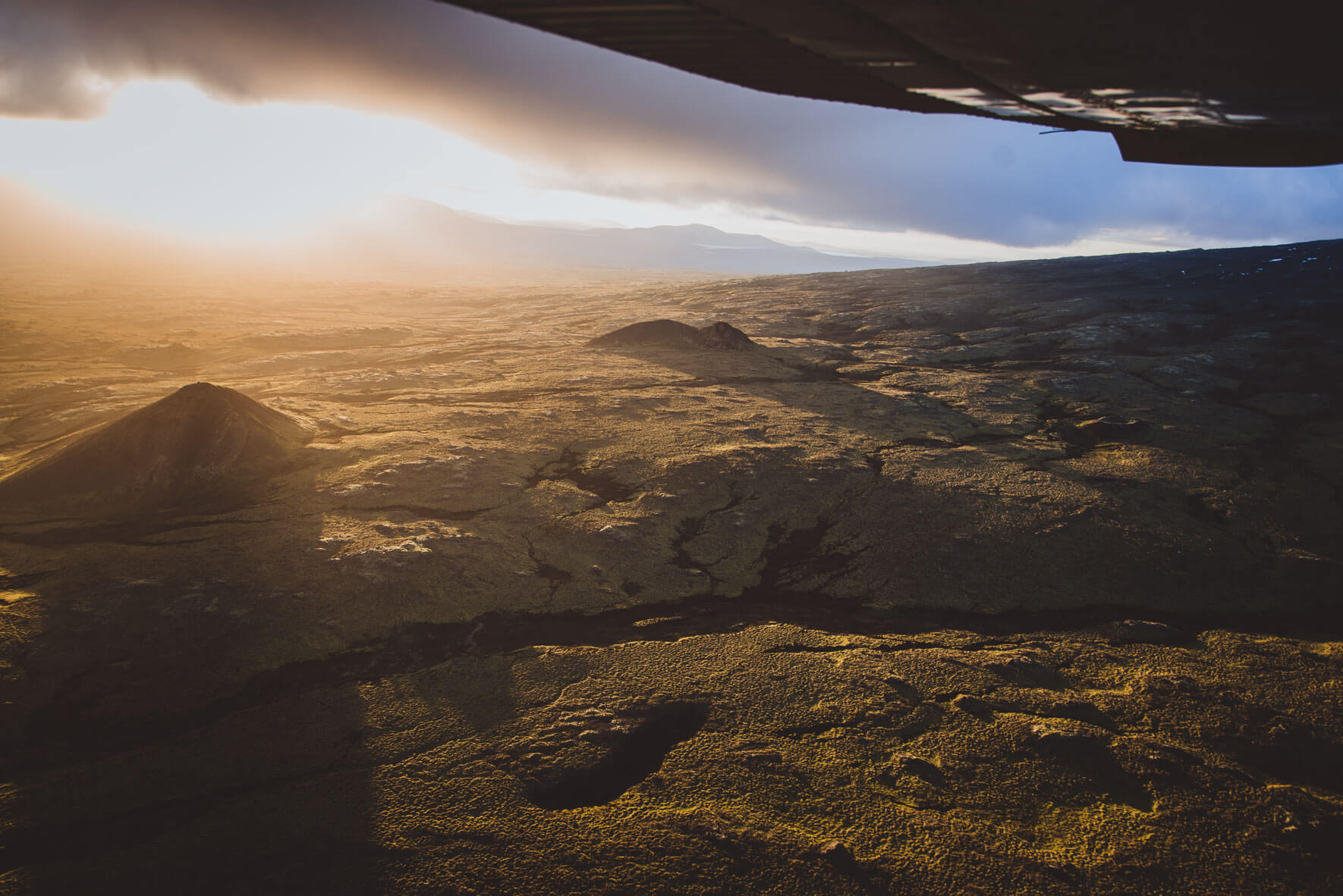 View from a Cessna 207 over Iceland during sunset