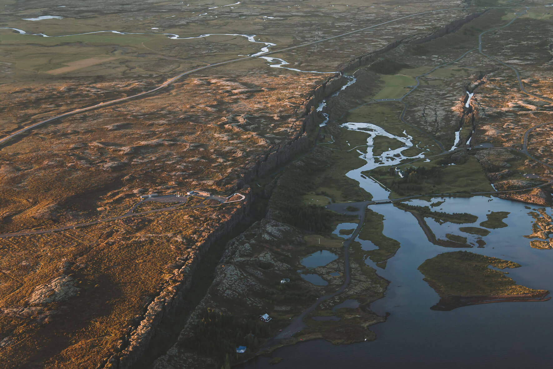 Aerial view of Þingvellir National Park in Iceland