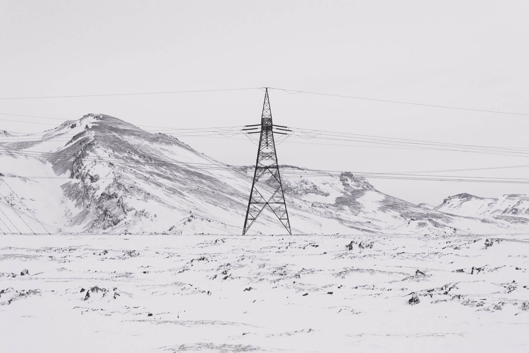 High voltage power line in winter landscape in Iceland