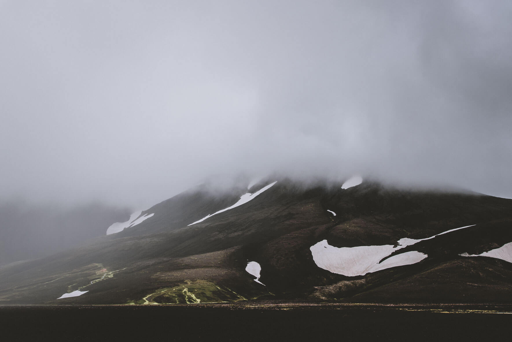 Low clouds over the mountains in the Highlands of Iceland