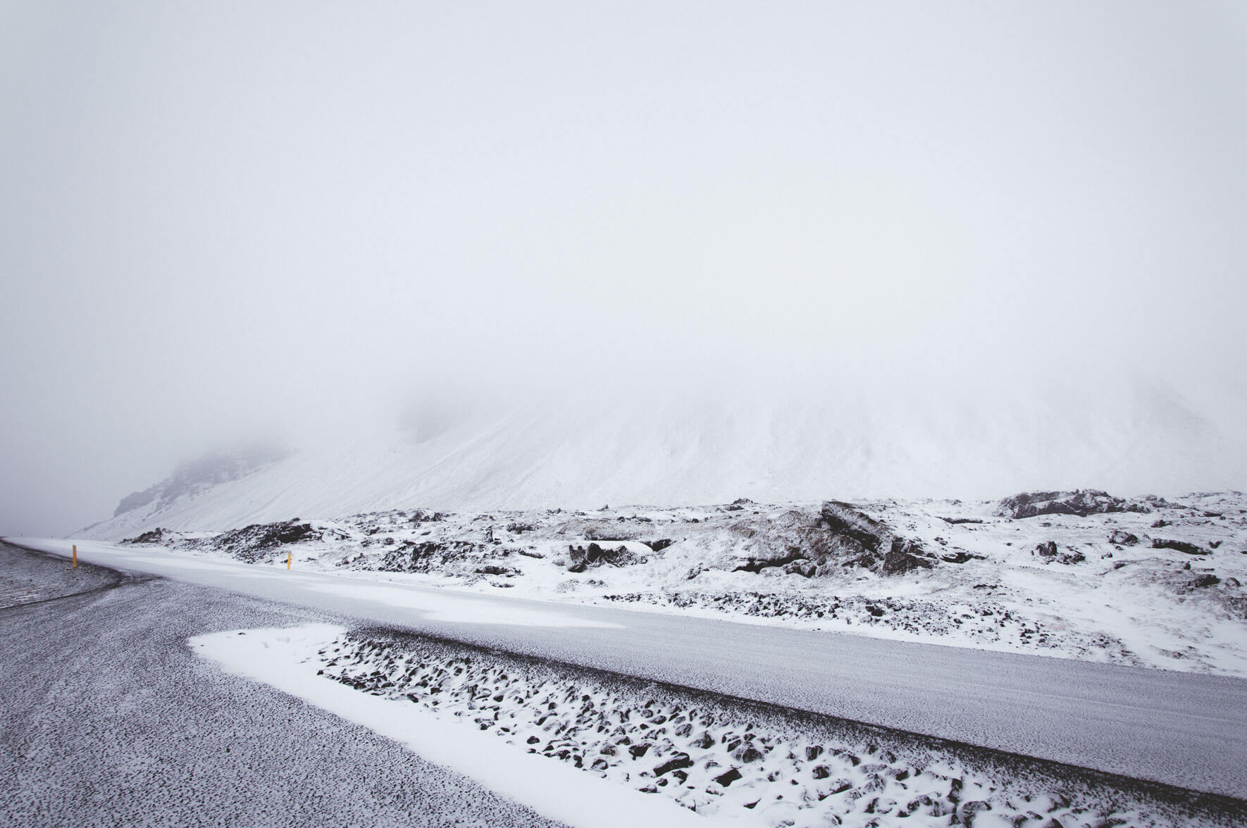 Snowy road at the foot of the Snæfellsjökull glacier in Iceland