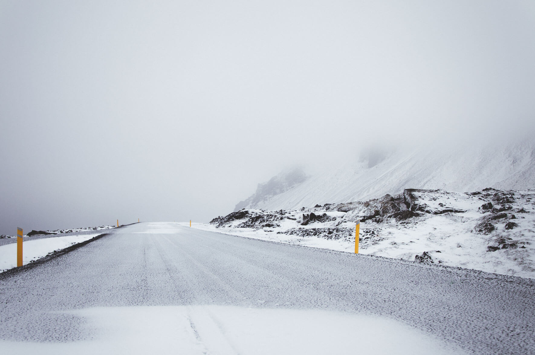 Snowy road in the Snæfellsjökull National Park of Iceland