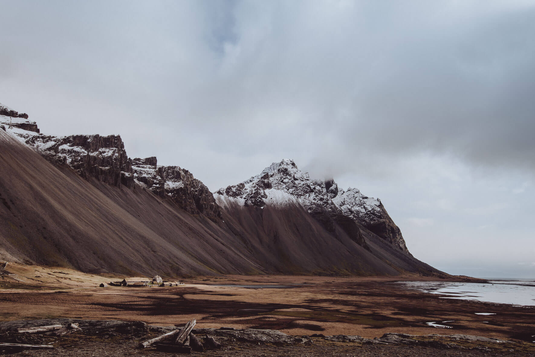 Vestrahorn mountain and viking village film set on the south coast of Iceland
