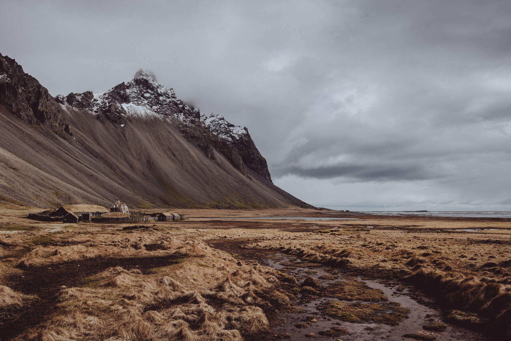 Viking village film set and Vestrahorn mountain near the town Höfn in Iceland