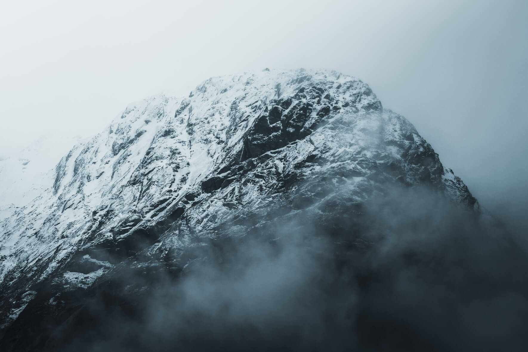 First snow of winter on the mountains of Jostedal, Norway