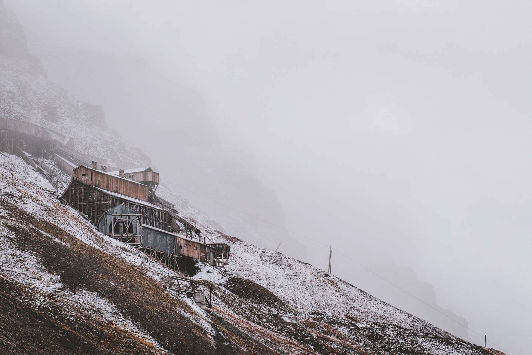 Abandoned coal mine #2 with snow in Longyearbyen, Svalbard