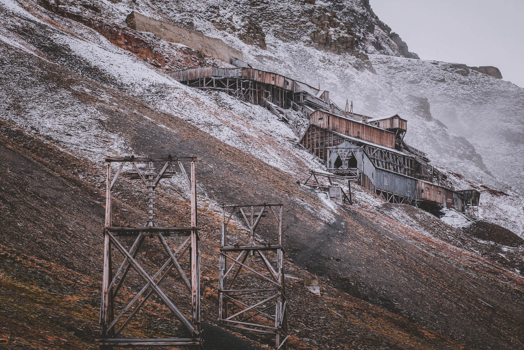 Buildings of abandoned coal mine #2 in Longyearbyen, Svalbard (Norway)